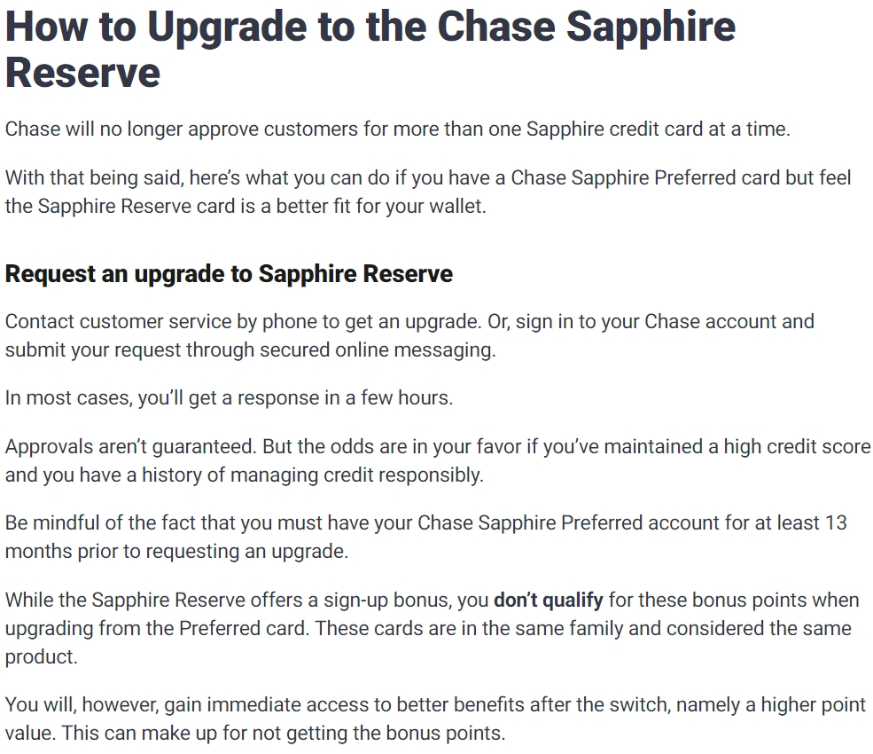 How to Upgrade to the Chase Sapphire Reserve